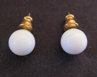 Pair of Small Round Enamel Napier Earrings