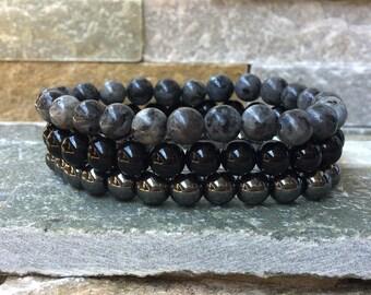 Bracelet set men bracelet Hematite Onyx Larvikitt mala stack
