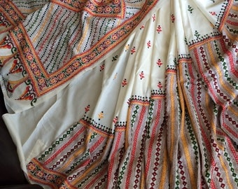 New all hand embroidered off white banglore silk saree with blouse piece