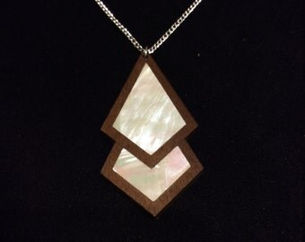 Geometric design necklace. Walnut w/mother of pearl inlay.
