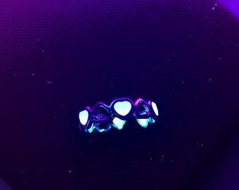 Phosphorescent small adjustable heart ring