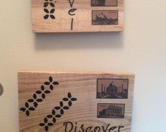 Set of Two World Travel Plaques on Natural Wood