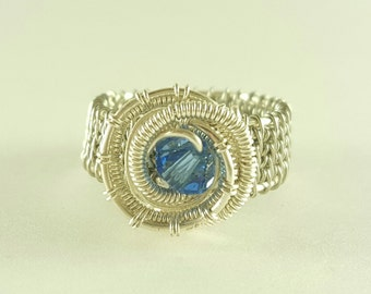 Silver wire woven blue ring