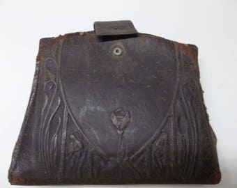 Antique Leather Purse And Contents Project Decor