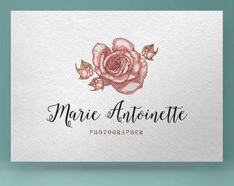 Premade logo Design, Rose Logo, Photography Logo, Floral Logo, Flower logo, hand drawn logo