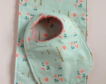Baby Girl Bib and Burp Cloth Set ~ Mint Coral Gold Floral Minky Bib and Burp Cloth Set