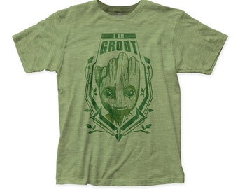 Guardians of the Galaxy I Am Groot fitted jersey tee (GTGM06) Heather Green