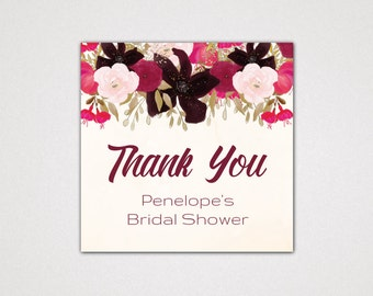 Boho Bridal Shower Thank You Tags Printable Template: A Bohemian Custom Favor Tag for Gifts, DIY Digital Instant Download Editable PDF K002