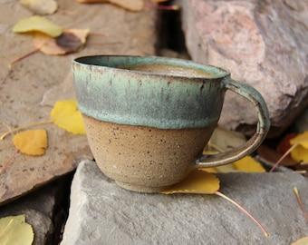 Matte Green Raw Clay Hand Thrown Large Mug