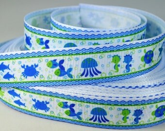 "Blue Crab, Seahorse, Octopus, Fish Ribbon with Blue boarder, 7/8"" Grosgrain Ribbon"