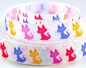 "7/8"" Colorful Cats - Cats on White Grosgrain Ribbon"
