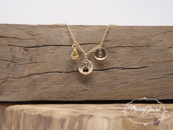 Pawprint gold necklace, custom initial, birthstone necklace, cat necklace, dog necklace, kitten jewelry, gold animal jewelry, pet jewel