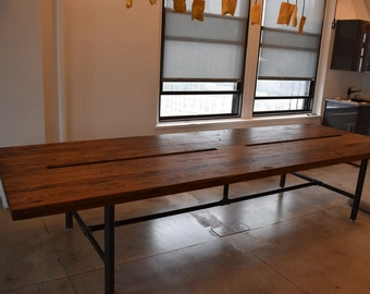 Communal Pipe base Reclaimed Wood Work Station Table Conference Table