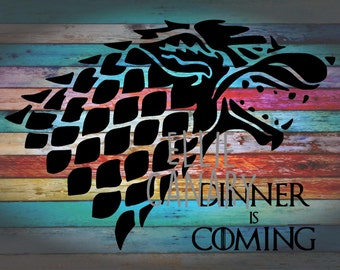 Dinner Is Coming -- Direwolf (Wolf) Game of Thrones Decal *Rainbow Background Not Included* Car Tumbler Yeti Wall Decal