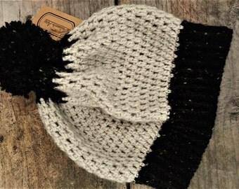 Black Tweed and Cream Pom Pom Beanie Hat