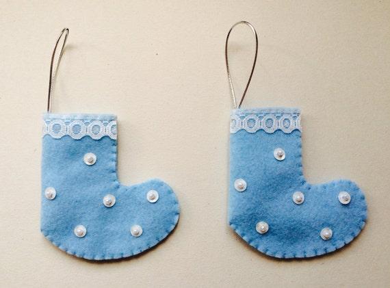 Mini Blue Felt Christmas Stockings - Handmade Christmas Decorations