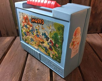 Vintage Smurfs Lunchbox/Vintage Lunchbox/ Plastic Lunchbox/Smurfs