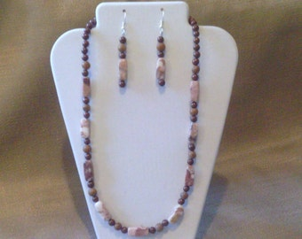 320 Fancy Brown and Beige Marble and Clay Beaded Choker