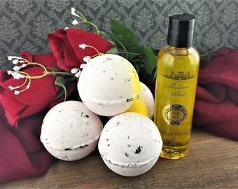 Seduction Date Night Gift Box - Valentines Day Gift set - Romantic Gift - Rose and Grapefruit - Massage & Body Oil - Romantic Evening