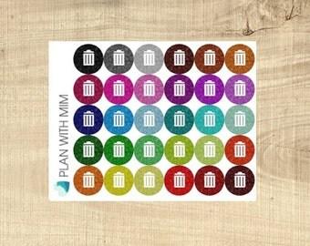 Erin Condren 30 Multi-coloured Glitter Look Garbage Bins Icons