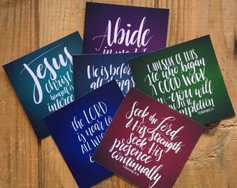 "Mini-print set of 6 verse cards (3.5""x3.5"") scripture on solid backgrounds in jewel tones"