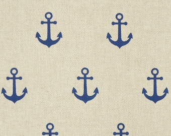 Anchor ca 3cm maritim - blue nature - one cotton mix - bag fabric or curtain fabric