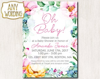 Oh baby invitation, Baby Shower Invitation, Summer Baby Shower Invitation, Baby Sprinkle invitation, Baby Girl invitation - 1648