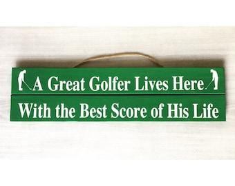 Golf Sign / Golf Decor / Golfing Decor / Gift for Golfer / Best Score of his Life / Wood Golf Sign / Golf Gift / Funny Golf Sign / Humor