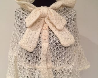Snowflake mini hooded poncho