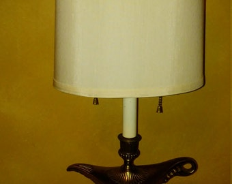 Vintage brass Aladdin Lamp/Fredrick Cooper lamp shade