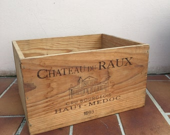French Original Wine Crate Bottle WOOD BOX RAUX