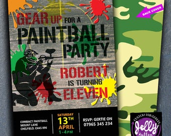 SALE! Gear Up Paintball Invitation, Paintball Invite, Paintball Invitation, Army Invite, Paintball Party, Paintball Birthday