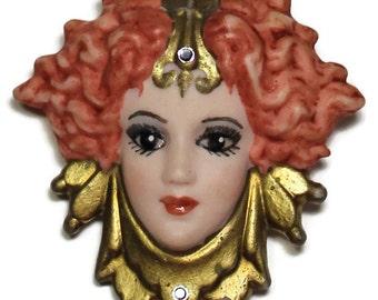 Arabian Dancer Face Pin - 3D Face Brooch - Salvage - Female Face - Mixed Media Supplies - Assemblage Supplies - Art Supplies