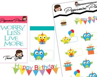 Owl Birthday Planner Stickers {#237}