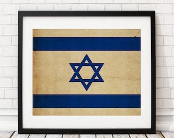 Israel Flag Art, Israel Flag Print, Israeli Flag Poster, Country Flags, Israeli Art, Israeli Poster, Jewish Gifts, Jewish Art, Flag Painting