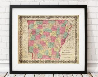 Arkansas Map Print, Vintage Map Art, Antique Map, Wall Art, Map of Arkansas, Old Map, Arkansas Art, Arkansas Gifts, Arkansas Print