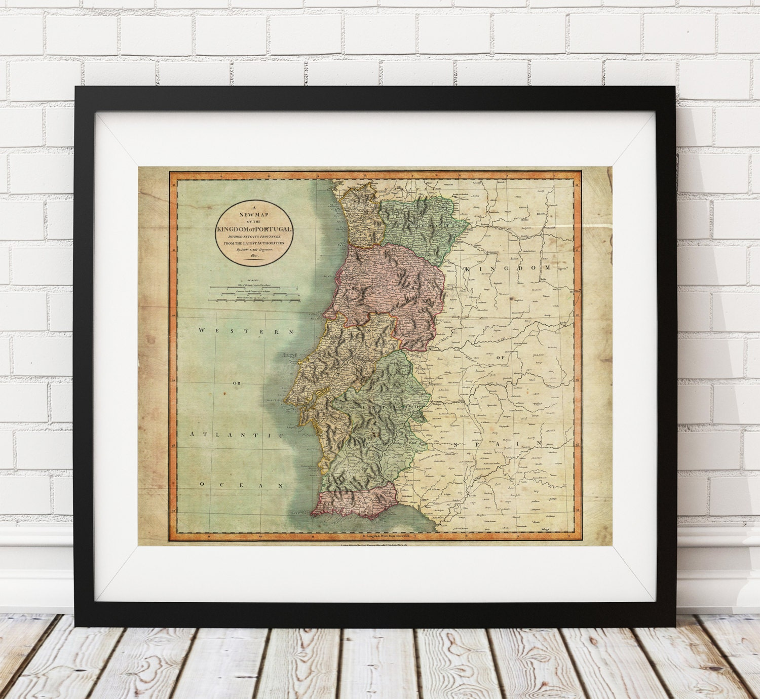 Portugal Map Print Vintage Map Art Antique Map Wall Art - Portugal map to print