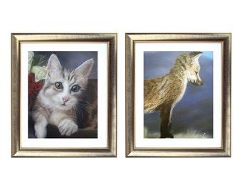Animal Print Set, Cat and Fox Drawing Set, Fine Art For Sale, Animal Illustrations, Realistic Art Prints, Animal Wall Art, Animal Prints