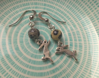 moon hare earrings, hare jewellery, animal jewellery, rabbit earrings, charm earrings, hook earrings, moon gazing hare, year of the rabbit