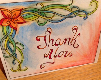Color Your Own Thank You Cards! Set of Two- Instant Download- Creative Cards- Adult Coloring Page- DIY Cards- Print Your Own