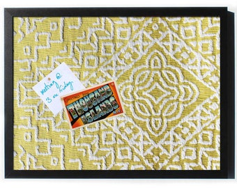 Yellow and White Chenille Magnet Board - Framed Magnetic Bulletin Board, 3 sizes
