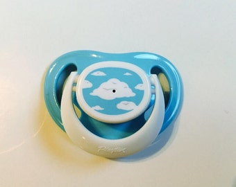 Blue and White Clouds Cloud Neutral REBORN Doll Non - Magnet Putty PACIFIER Paci