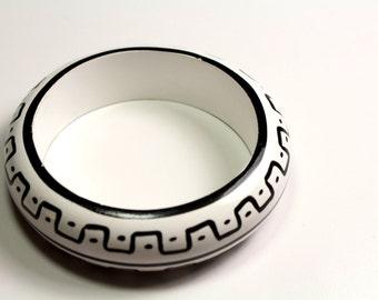 Black and White Wood Bangle Bracelet
