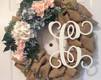 Personalized Spring Hydrangea Burlap Wreath