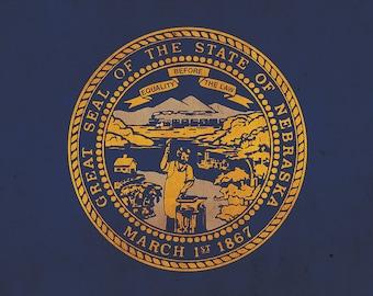 Vintage Nebraska flag on canvas, Nebraska, Flag, Wall Art, Nebraska Photo, Nebraska flag on canvas,  Single or Multiple Panels Illinois flag