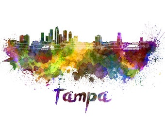 Tampa skyline watercolor canvas, Tampa Canvas Print, Tampa wall art,Tampa Canvas Wall Art, Watercolor Skyline, Gift Ideas, Tampa print
