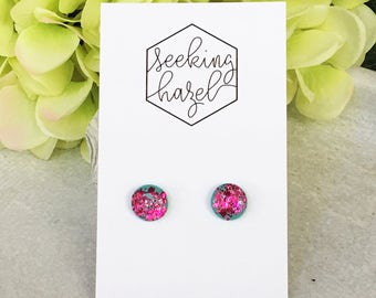 Pink glitter earrings , glitter studs, resin studs, polymer clay studs, aqua and pink earrings