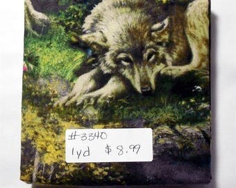 Fabric - 1yd piece-Wolf/Wolves Lazy Afternoon/puppies/pups/green/grey/yellow/lake (#3340) Wild Wings/Springs Creative CP55732