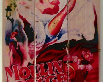 Vintage Poster - MOULIN ROUGE  on #Recycledwood