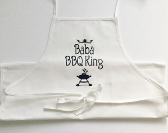 BBQ King/Queen, Personalized Apron, hosting, dinner, lunch, meal prep, kitchen, dining, cooking, cook, chef, food, host, grill, gift